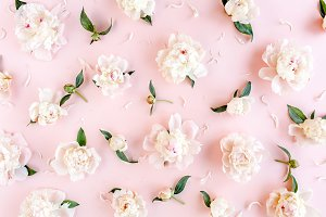 Pattern of beige peonies