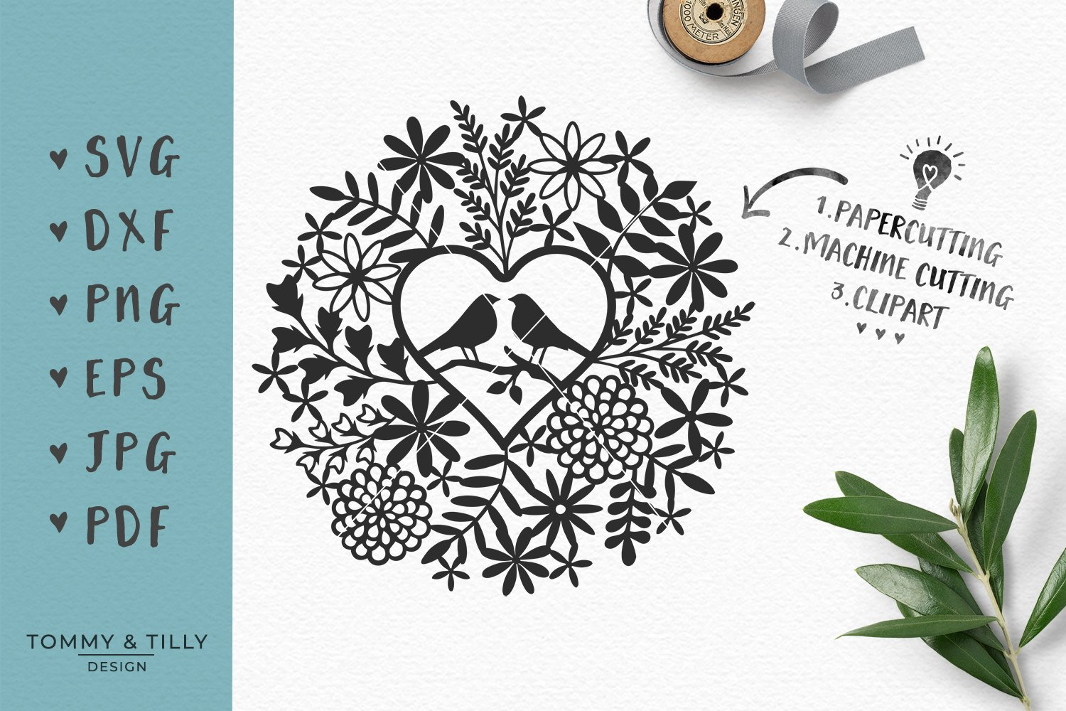 Love Birds Foliage - Wedding SVG ~ Graphic Objects ~ Creative Market