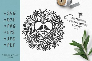 Love Birds Foliage - Wedding SVG