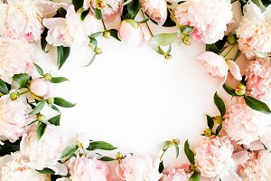 Frame made of pink peonies.