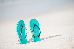 Summer mint flip flops with sunglass