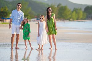 Young family on vacation have a lot