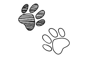 Dog cat paw sketched line art vector