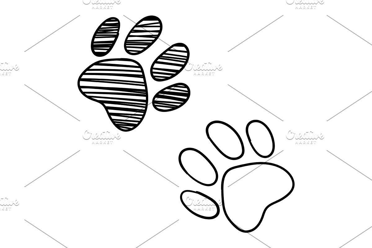 Dog Cat Paw Sketched Line Art Vector