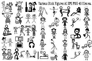 Various Stick Figures AI EPS PNG