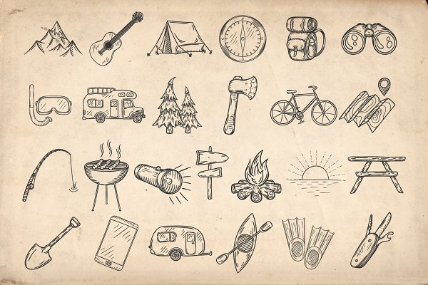Set of doodle camping icons.