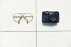 Vintage Eyeglasses & Camera