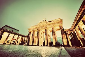 Brandenburg Gate at night. Vintage
