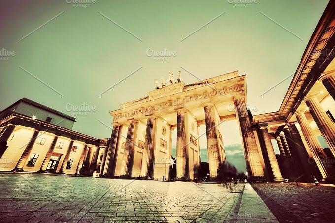 Brandenburg Gate at night. Vintage - Architecture