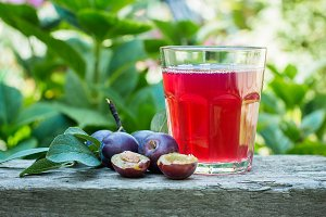Plum juice in glass