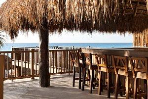 Wooden Beach Bar In Resort