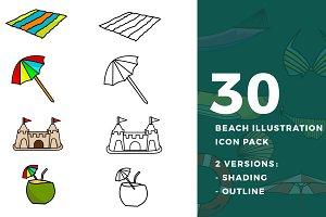 30 Beach Illustration Icon Pack