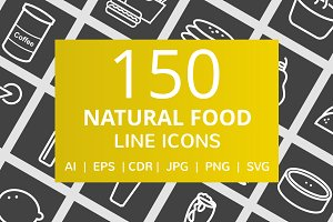 150 Natural Food Line Inverted Icons