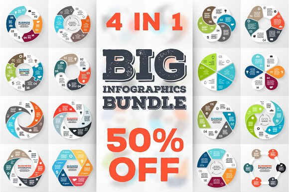 24 infographics for 6 options. Set 2 - Presentations