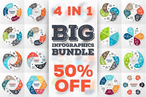 24 infographics for 6 options. Set 2 - Presentations