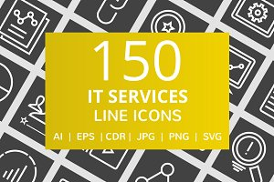 150 IT Services Line Inverted Icons