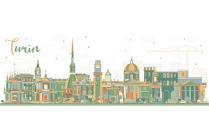Turin Italy City Skyline with Color