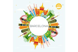 Barcelona Skyline with Color