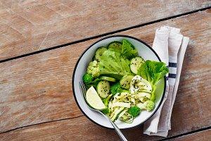 Healthy vegetarian green salad
