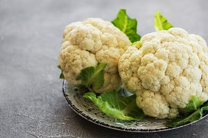 fresh cauliflower on plate