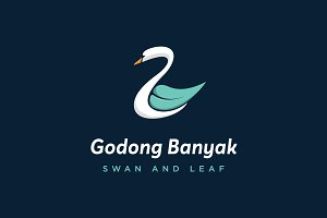 Swan And Leaf Logo Template