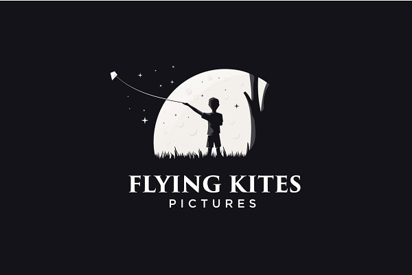 flying kites logo template