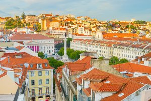 Panorama of Lisbon downtown Portugal