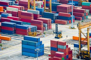Freight containers commercial port