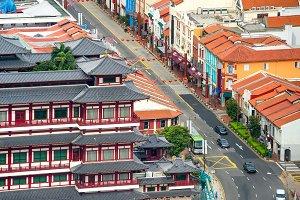 Cityscape of Singapore Chinatown dis