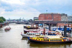 Motor boats in Hamburg port Germany