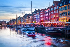 Nyhavn harbor embankment Copenhagen