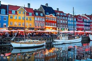 Nyhavn illuminated night, Copenhagen