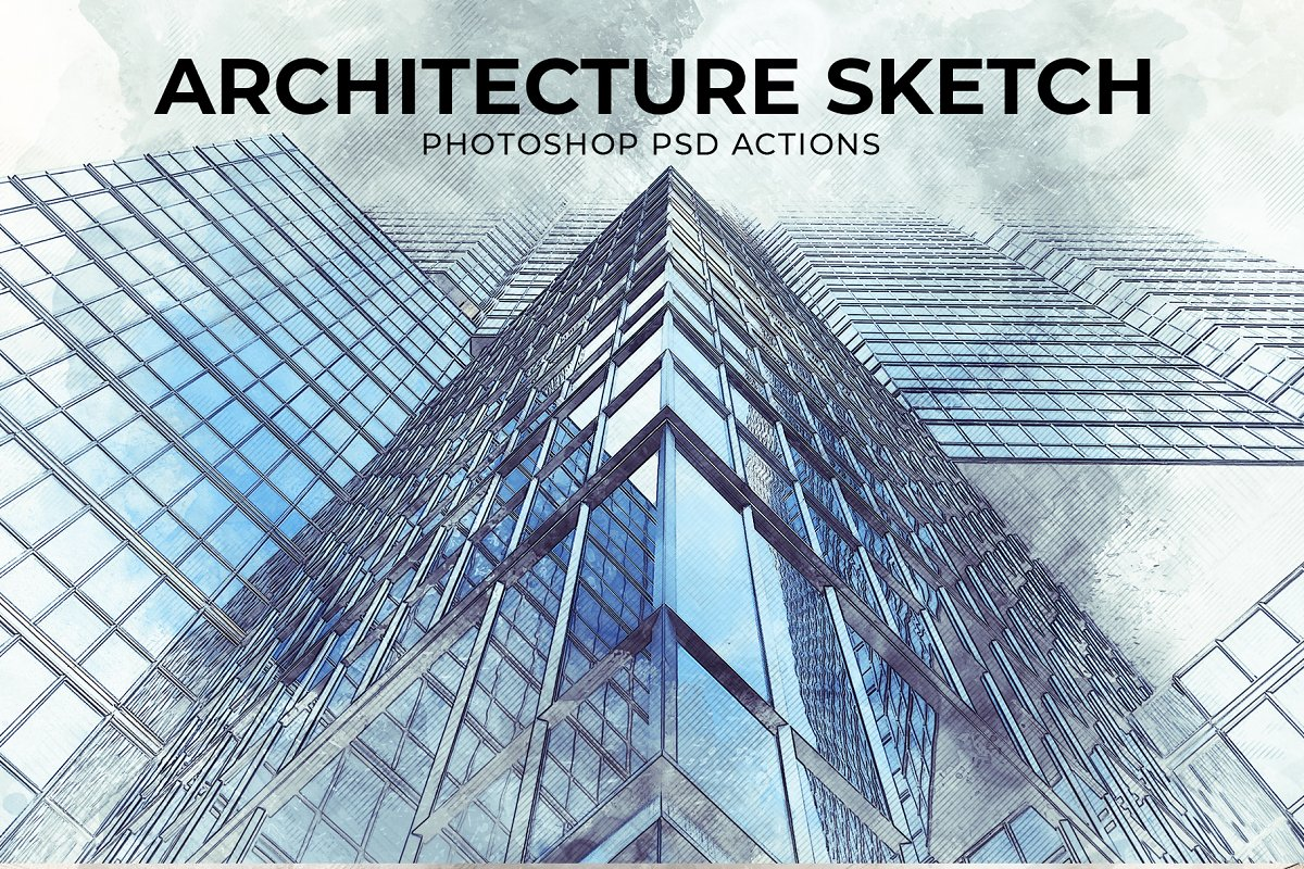 Architecture Sketch PSD Action ~ Photoshop Add-Ons