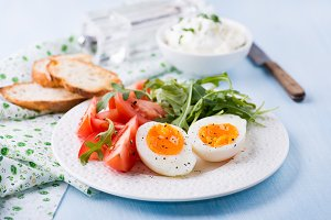 Breakfast with soft-boiled egg