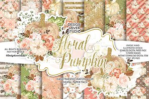 Floral Pumpkin digital paper pack