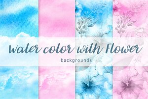 Watercolor with flower background V1