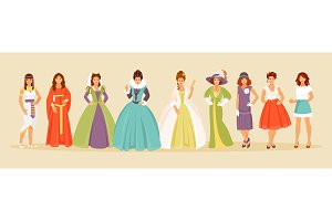 Historical costumes vector set
