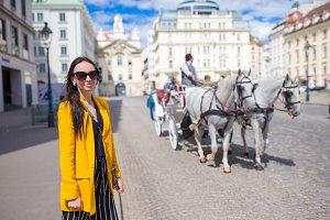 Tourist girl enjoying her european v