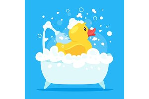 rubber duck taking a bath