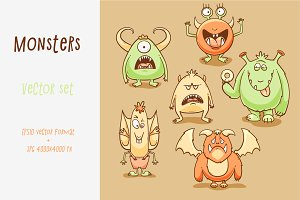 Monsters cartoon set for Halloween