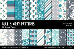 Blue And Gray/Grey Digital Papers