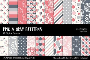 Pink And Gray/Grey Digital Papers