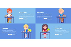 Education Learning Set of Posters