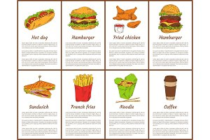 Hot Dog and Hamburger Set Vector