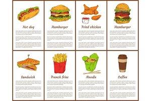 Hot Dog and Hamburger Set Vector