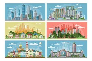 Cityscape vector city landscape with