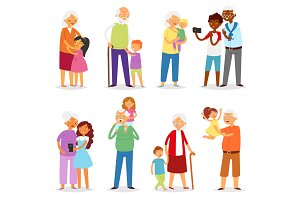 Grandparents vector family together