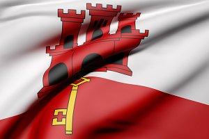 Gibraltar flag waving