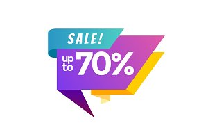 Up to 70 percent sale banner
