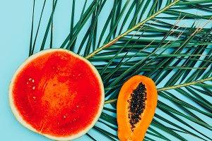 Watermelon and papaya Flat lay minim